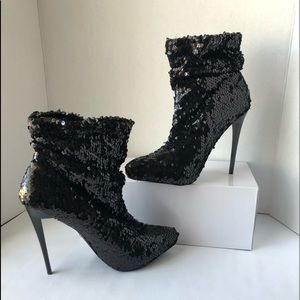Shoes Black Sequins Heels Boot